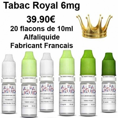 Destockage E-liquide Tabac Royal 6mg Alfaliquide par 20